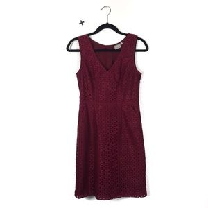 eShakti Raspberry Burgundy Floral Lace Mini Dress